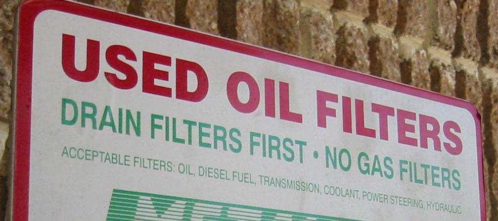 Oil Recycling Station Sign