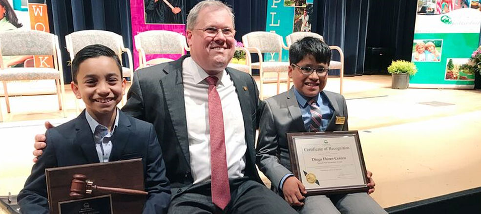 Junior Mayor Zayd Salahuddin, Mayor Jud Ashman and Former Junior Mayor Purani Kannan