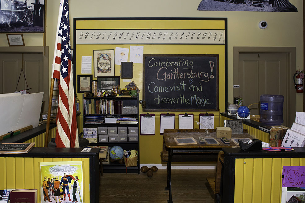 The One-Room School. This interactive learning center has classroom activities and games from a by-gone era. Games, school lessons, and chores provide a participatory environment.