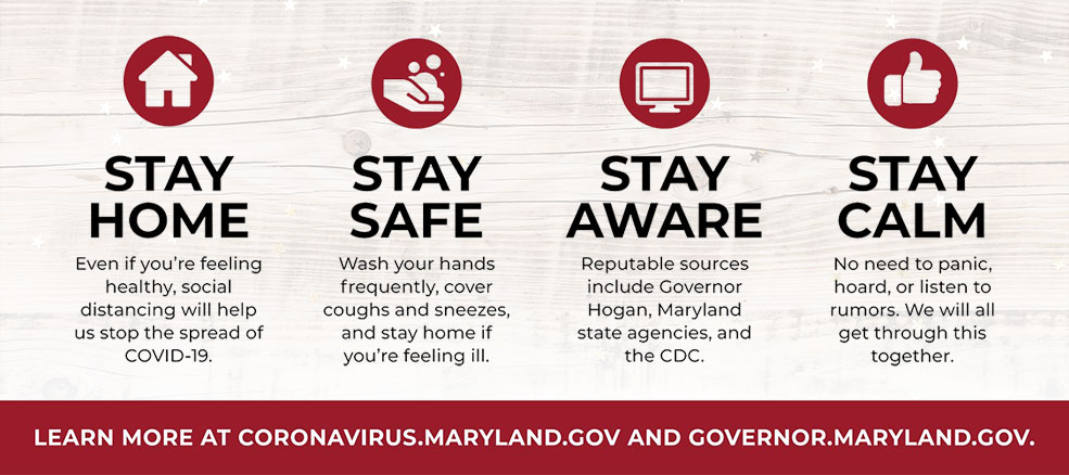 Coronavirus - Stay Home: Even if you're feeling healthy, distancing will help stop the spread. Stay Safe: Wash your hands, cover coughs & sneezes, stay home if ill. Stay Aware: Rely on reputable sources like state agencies & the CDC. Stay Calm: No need to panic. We will get through this together.
